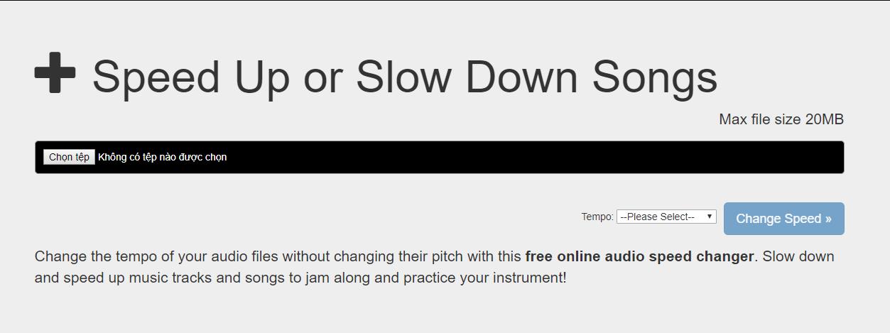 Tăng giảm tốc độ nhạc online