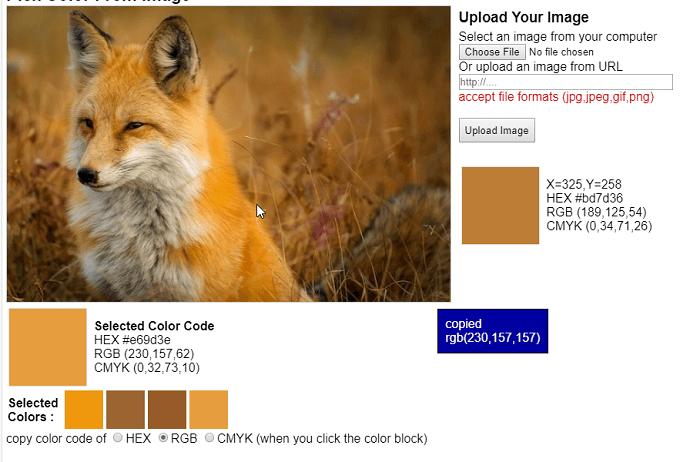 Lấy mã màu từ ảnh trực tuyến
