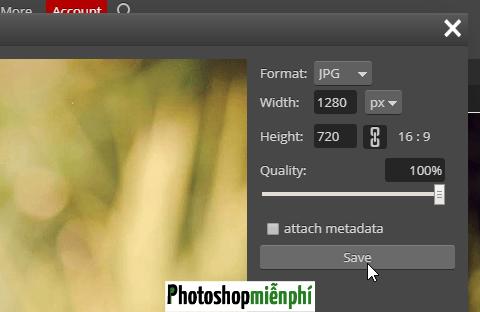 Cách lưu ảnh trong Photoshop online